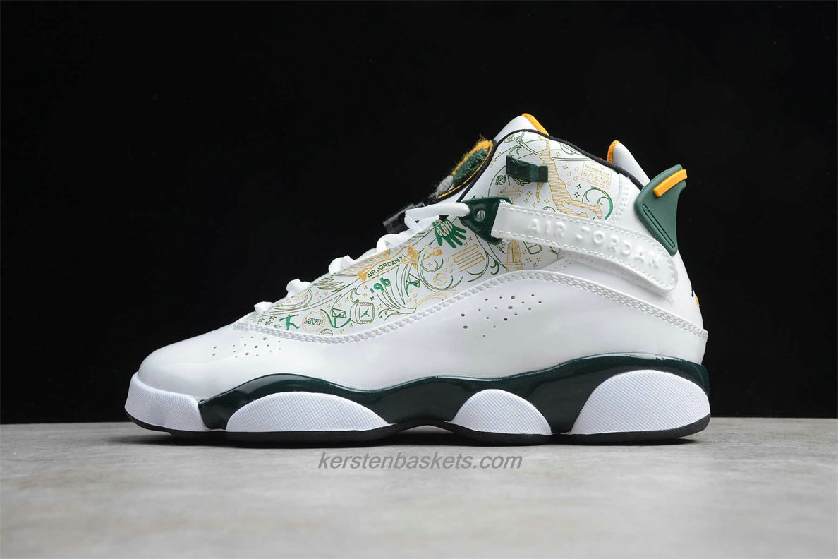 Chaussures Air Jordan 6 RINGS 322992 102 Blanc / Verte / Jaune