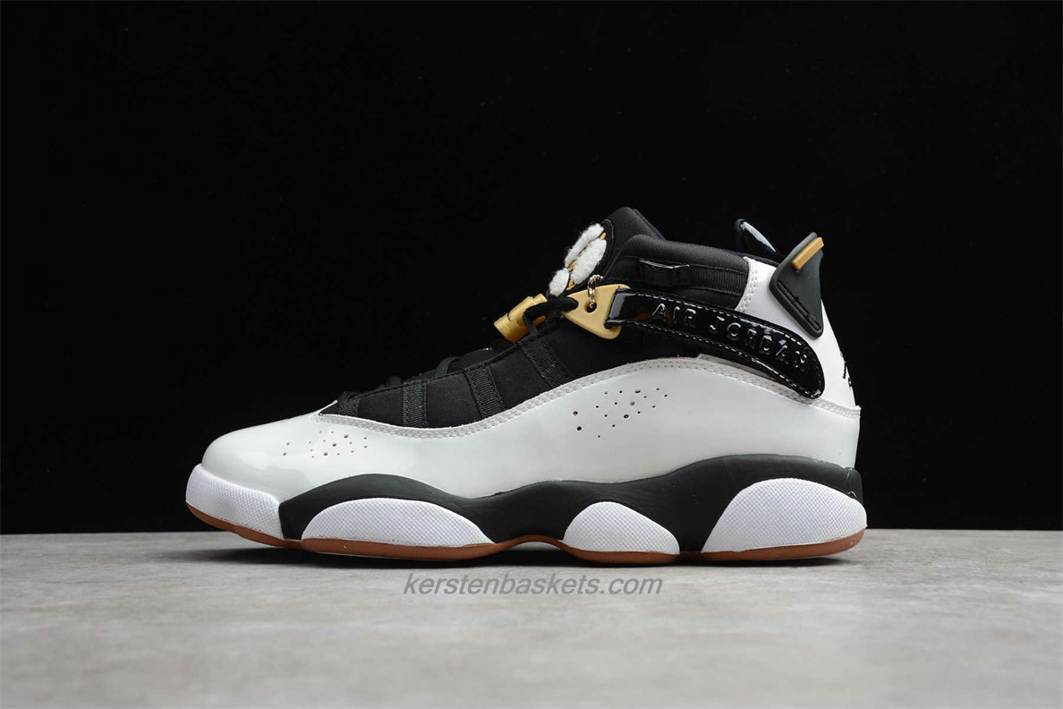 Chaussures Air Jordan 6 RINGS 323399 100 Blanc / Noir / Or
